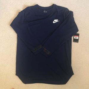Nike Men's Long Sleeve Crew Neck T-Shirt Blue